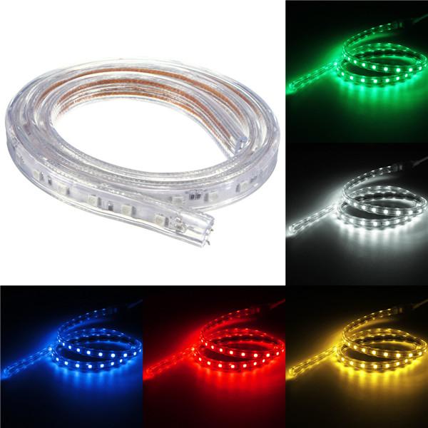 Waterproof IP67 1M 60SMD 5050 Red/Blue/Green/Warm White/White/RGB LED Light Strip 220V