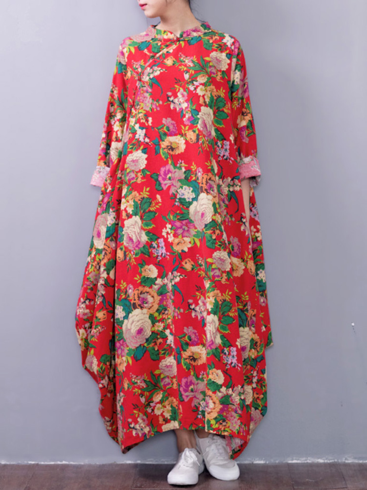 Plus Size Women Floral Printed Maxi Dress