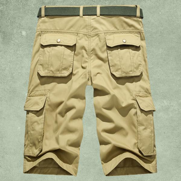 Plus Size Mens Cotton Casual Solid Color Cargo Shorts Summer Fashion Knee Length Bermudas