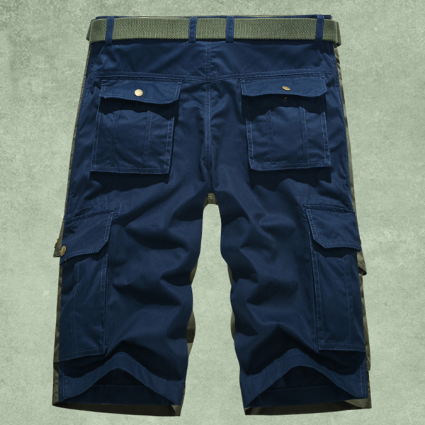 Plus Size Mens Cotton Casual Solid Color Cargo Shorts Summer Fashion Knee Length Bermudas
