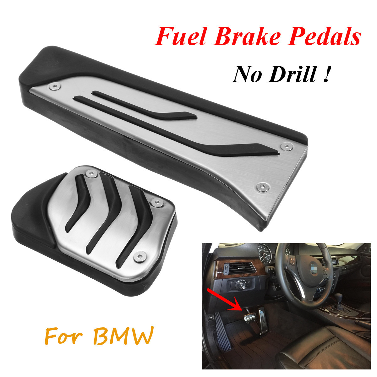 2 X No Drill Anti-slip Stainless Steel Fuel Brake Foot Pad Pedal Cover For BMW
