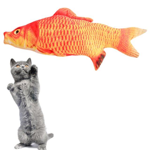 Pet Cat Toys Cat Kitten Cushion Bite Chew Pillow Simulation Cotton Stuffed Fish Mint Pet Toys