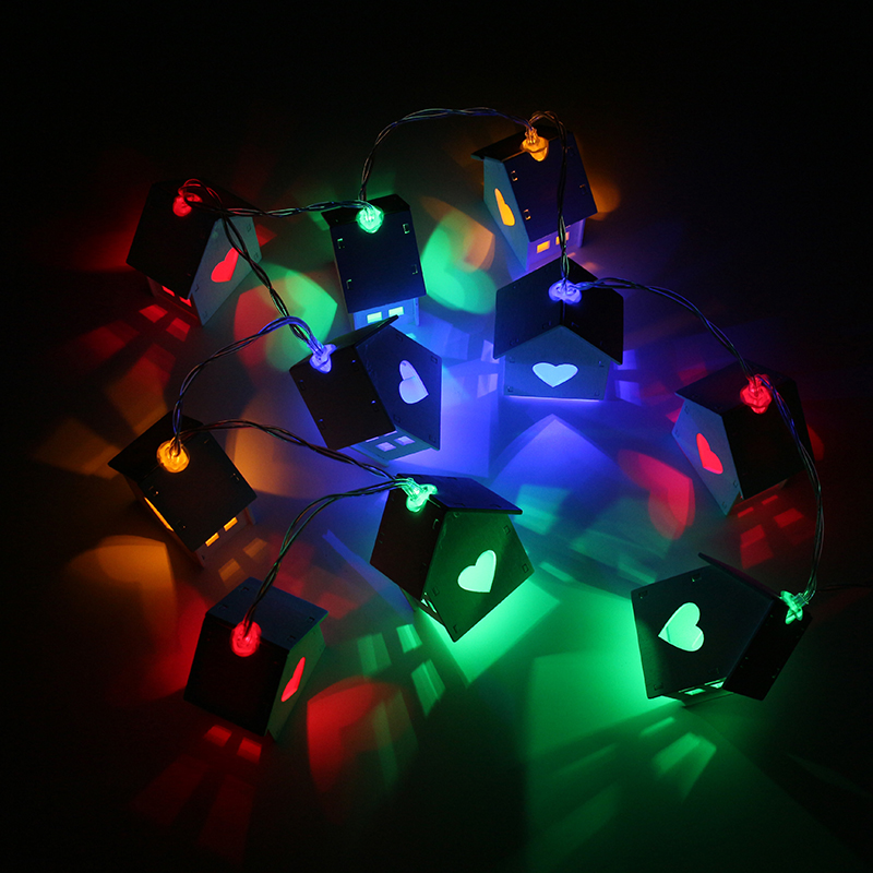 1.2M Battery Powered 10LED RGB Wooden House Multicolor Pure White Holiday Party String Light