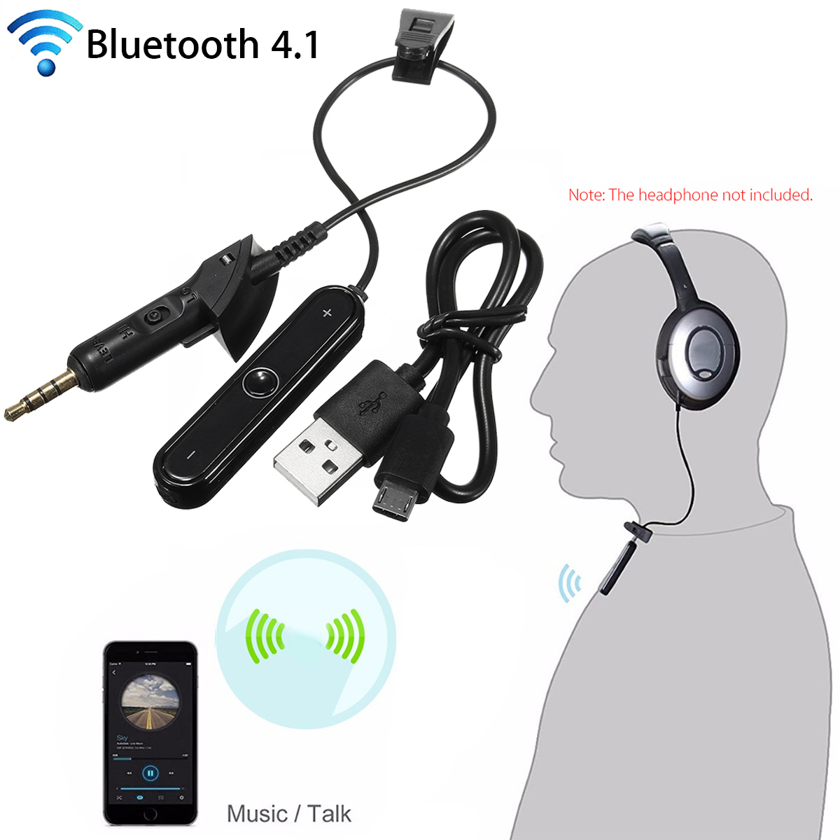 Bakeey bluetooth 4.1 Wireless Adapter Transmitter Cable For Bose For QuietComfort QC2 QC15 Headphone