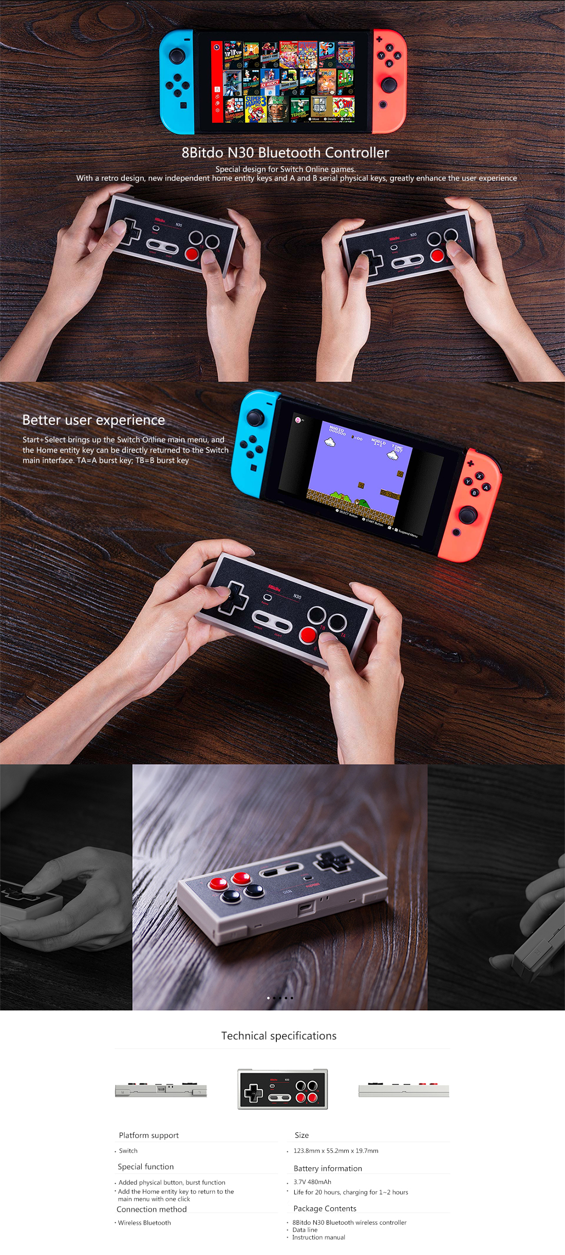 8Bitdo N30 NS Version Wireless Bluetooth Gamepad Game Controller for Switch  Online Games for Steam Android Mac