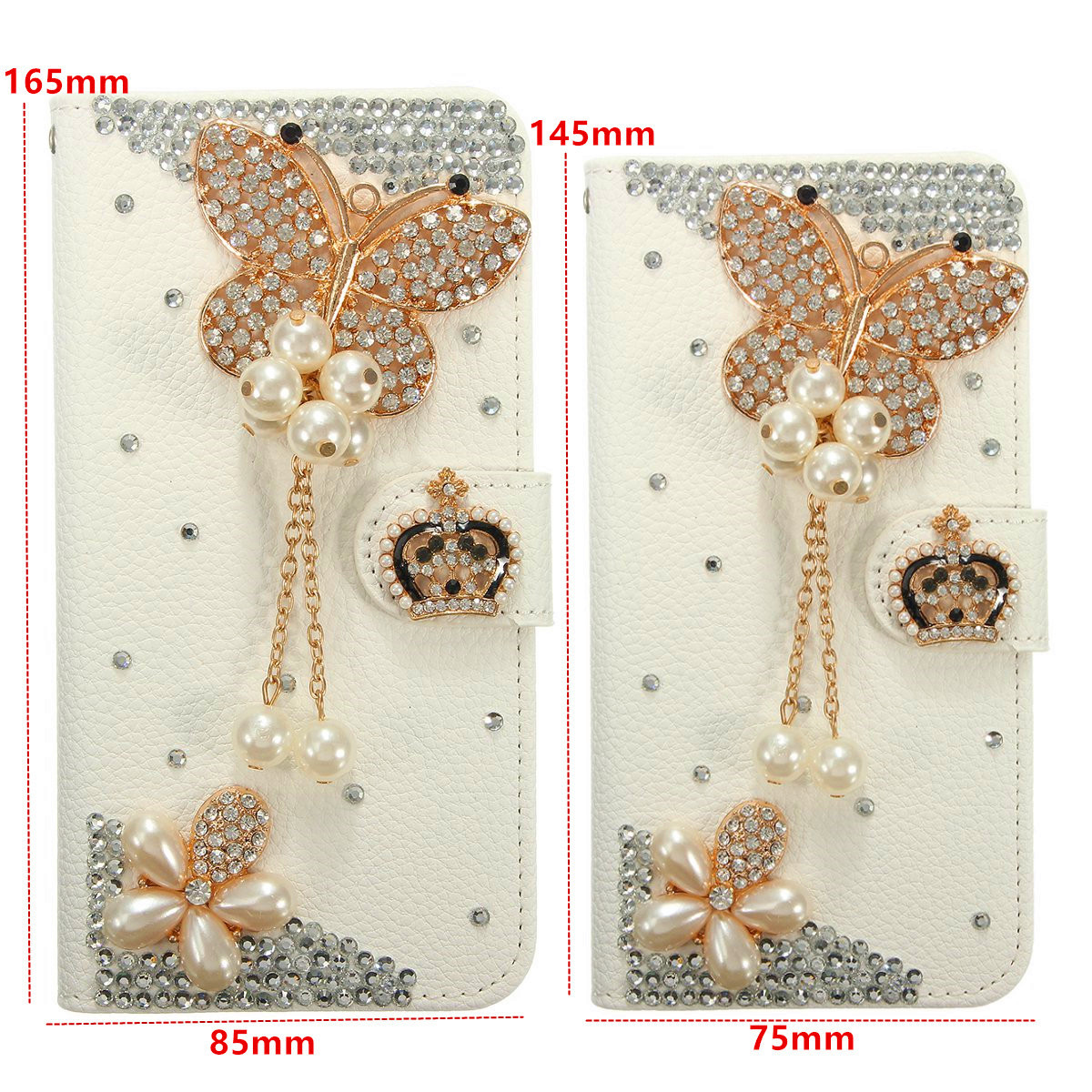 Crystal Diamond Pearl Flower Pattern Wallet Case For iPhone 7 & 7Plus