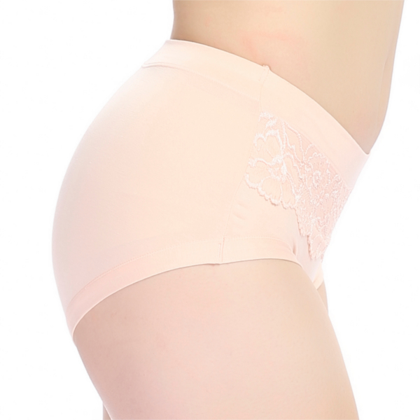 Women Elastic Seamless Breathable Panties Embroidery Lace Mid Waist Briefs