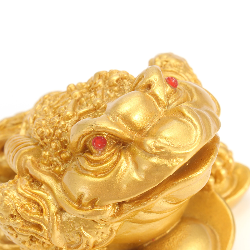 Resin Chinese Frog Toad Feng Shui Lucky Money Fortune Wealth Home Office Decoration Ornament