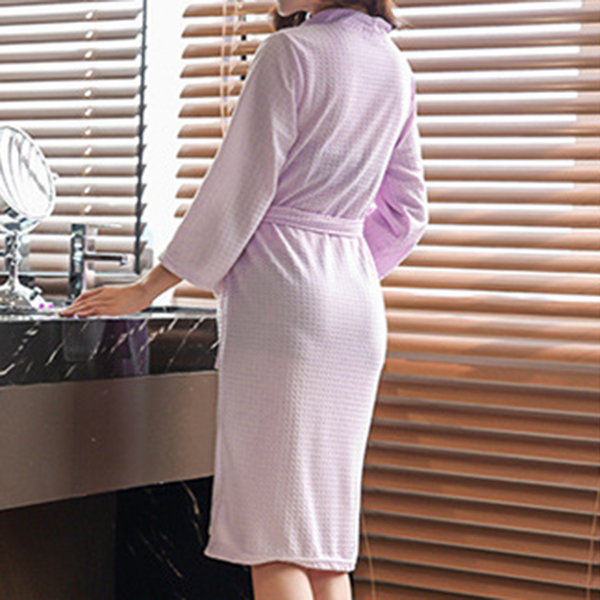 Spring Summer Thin Grid Water Absorption Robe Sleepwear