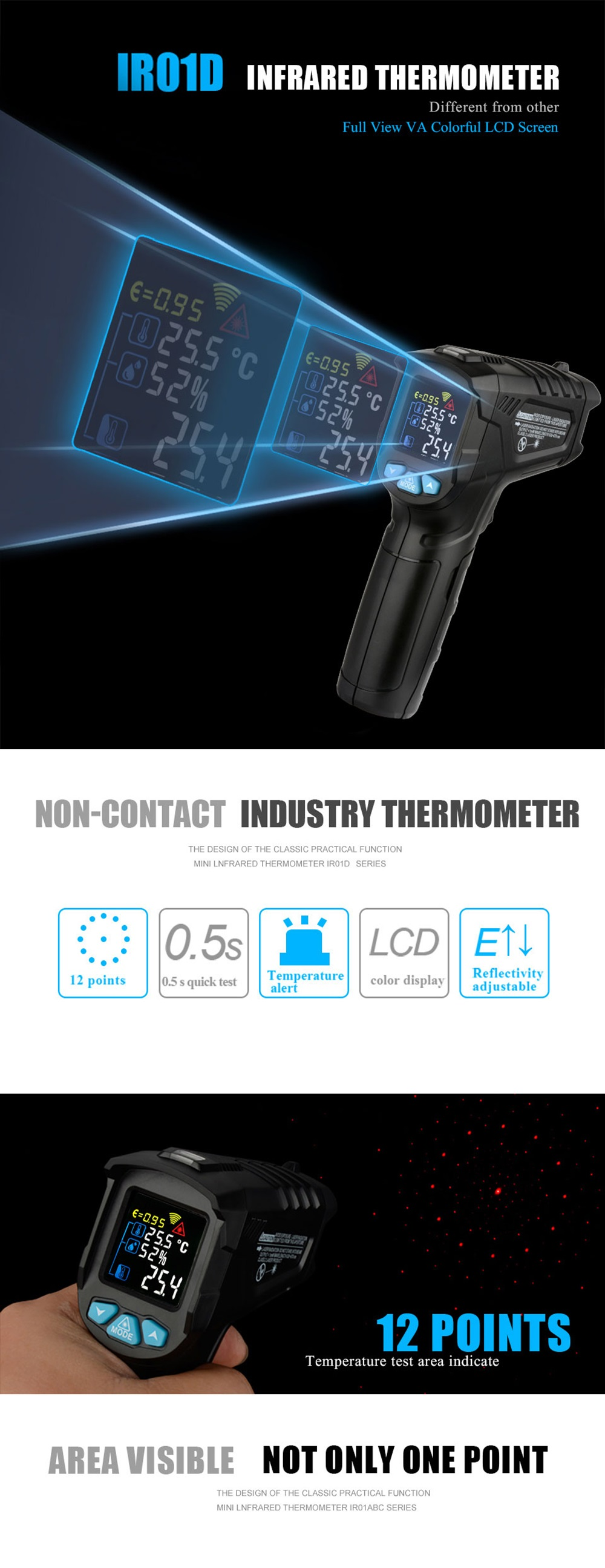 MESTEK IR01D -50~800°C Non-contact Infrared Digital Thermometer Humidity Meter With Colorful VA Screen 12 Points Temperature Test Area Indicate Temperature Humidity Meter Pyrometer