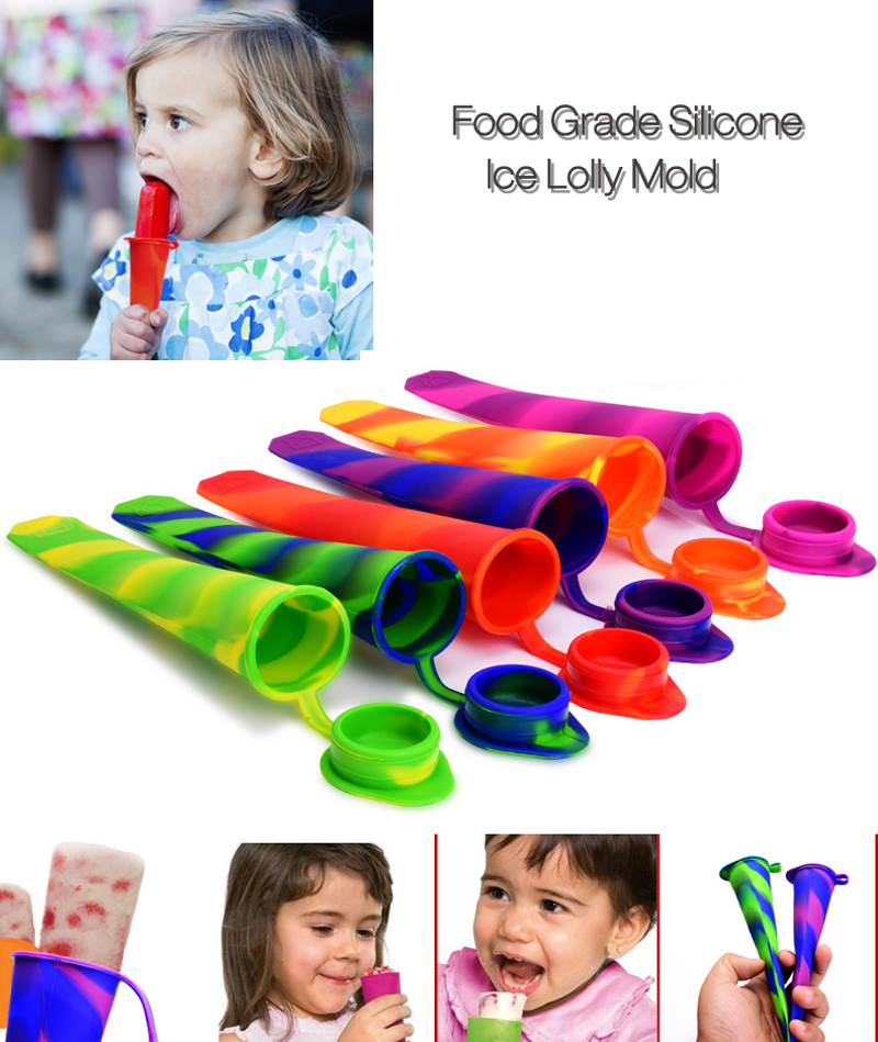 1 Piece Food Grade Silicone Ice Cream Mold Ice Pops Popsicle maker Frozen tray DIY Ice Cream Tools Jelly Lolly mould