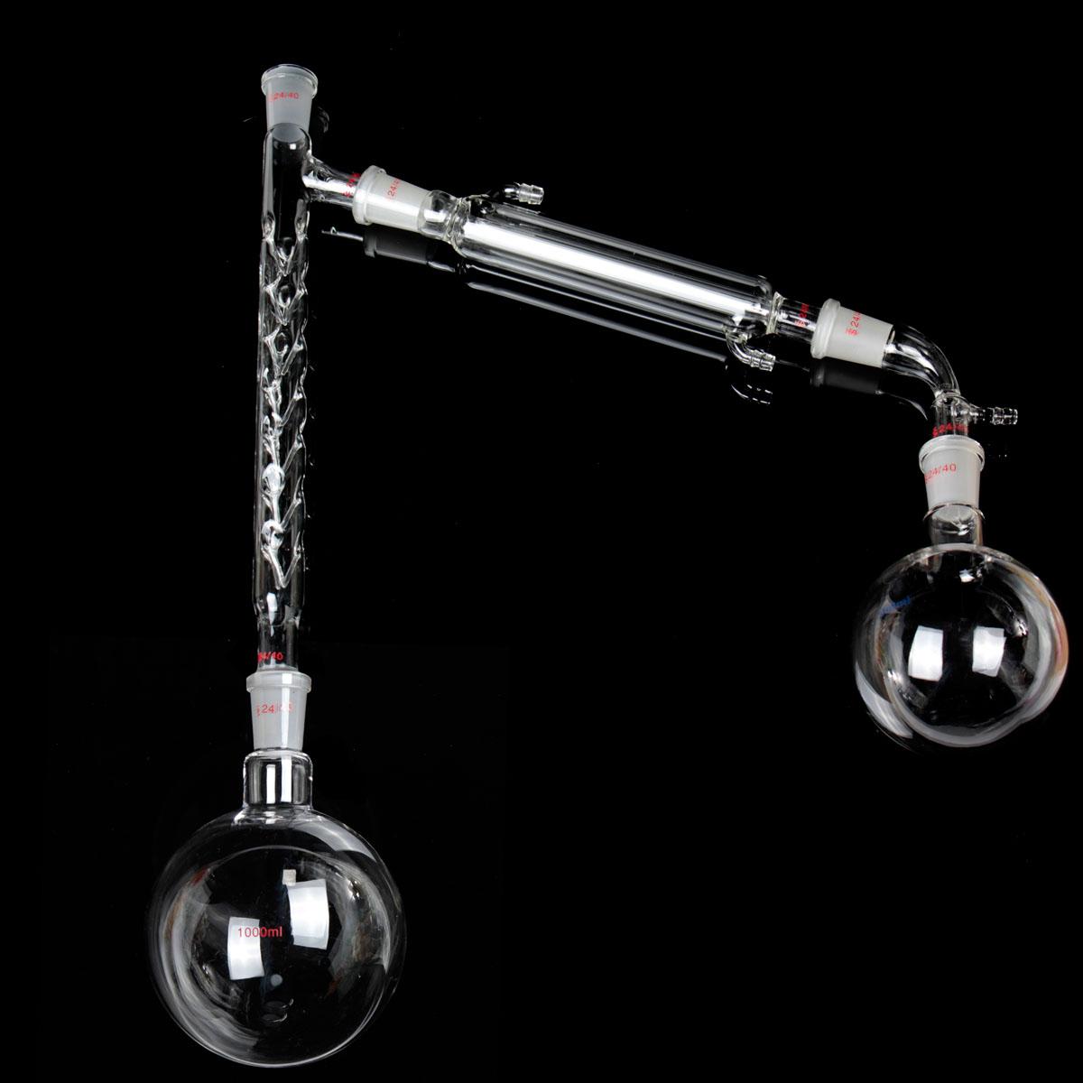 1000mL 24/40 Distillation Glass Apparatus Vacuum Distill Kit Vigreux Column Laboratory Glassware Kit