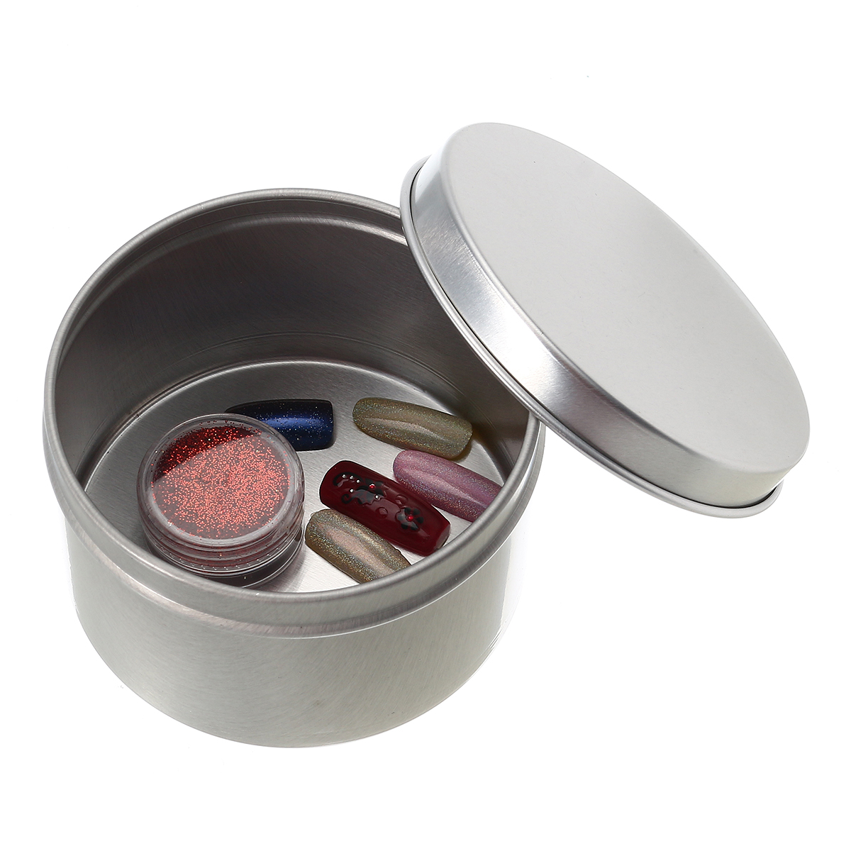 5pcs 180ml Empty Aluminum Tin Silver Nail Art Rhinestone Jewelry Makeup Metal Container Storage Box Tools