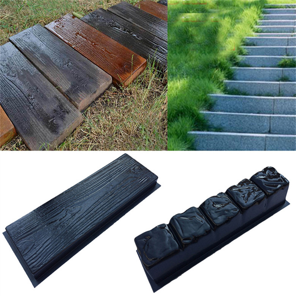 Old Wooden Boards Concrete Stone Mould For Garden Stepping Stone Path Patio
