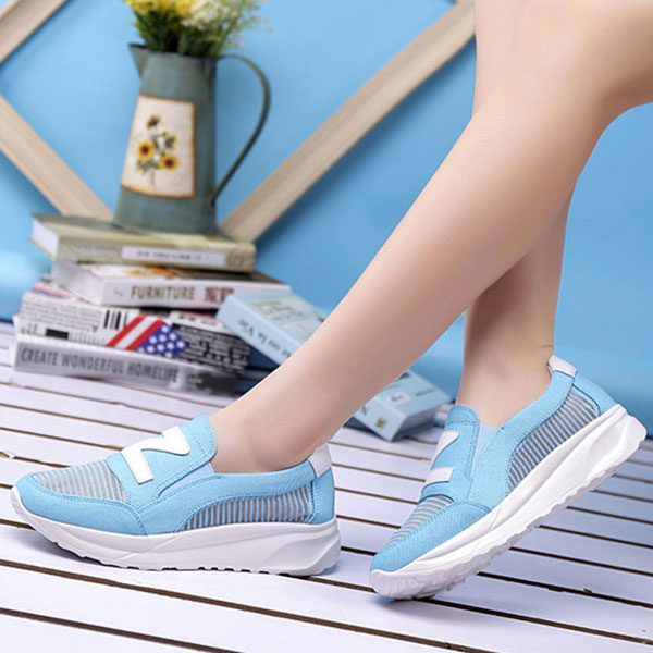 Women Rocker Sole Shoes Mesh Causal Sport Running Hollow Out Flat