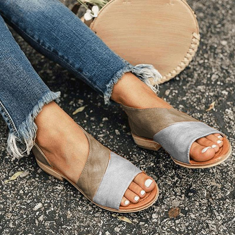 Large Size Vintage Splicing Color Slide Flat Sandals