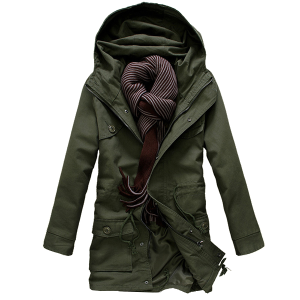 Mens Casual Thick Hoodies Trench Coat Autumn Winter Slim Fit Cotton Overcoat