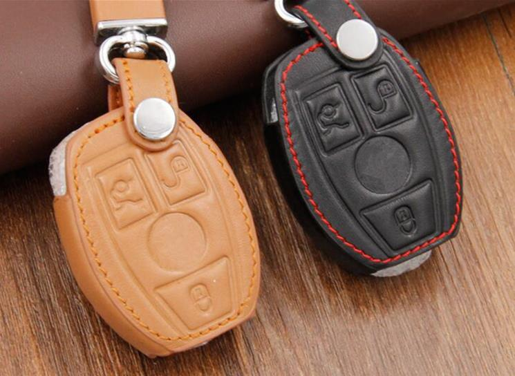 Leather Car Key Case/Bag Cover Holder For Mercedes Remote Smart Key 3 4 Button