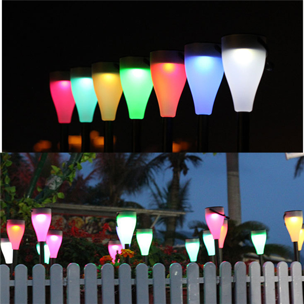 Colorful Solar Powered LED Night Light Landscape Garden Lamp for Outdoor Pathway Decor