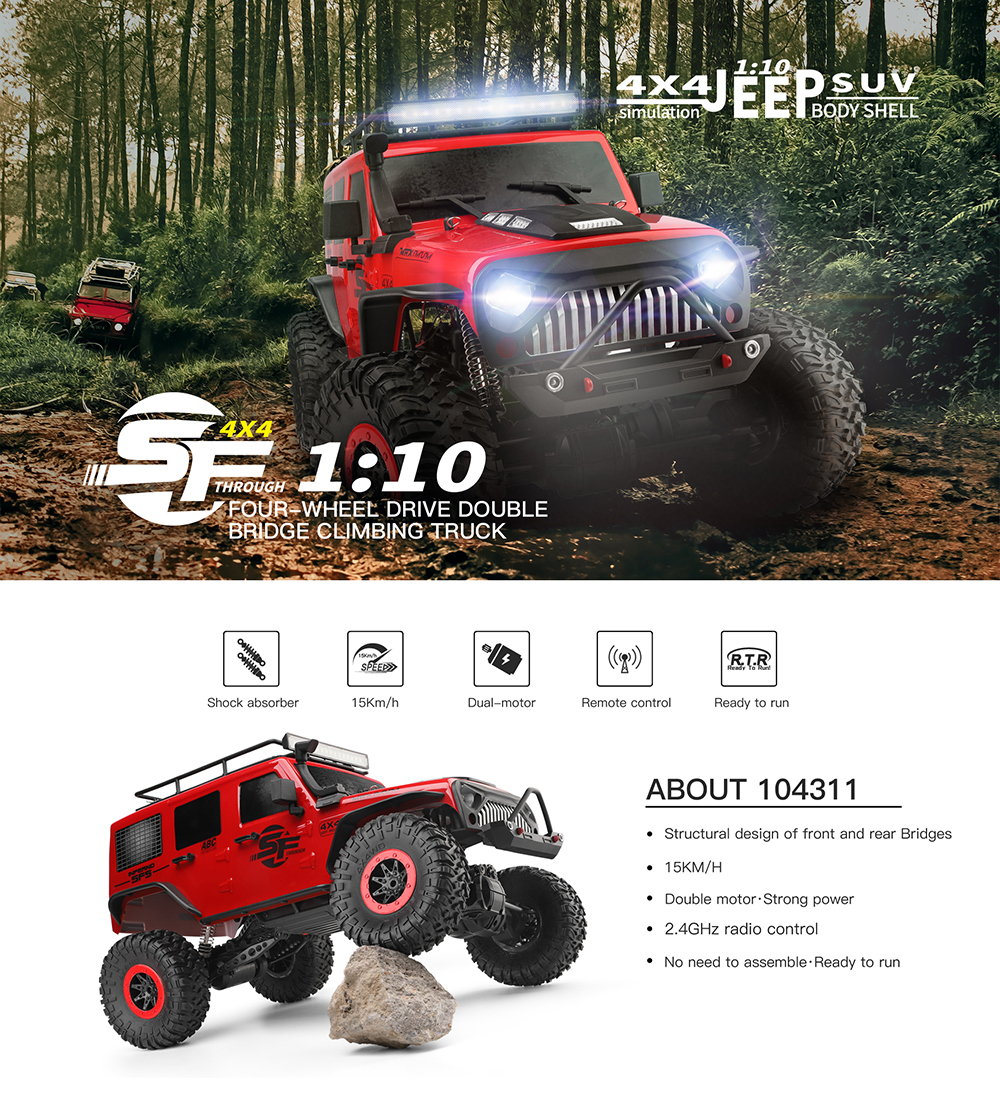 Wltoys 104311 1/10 2.4G 4X4 Crawler RC Car Desert Mountain Rock Vehicle Models With Two Motors LED Head Light Two Battery - Photo: 2