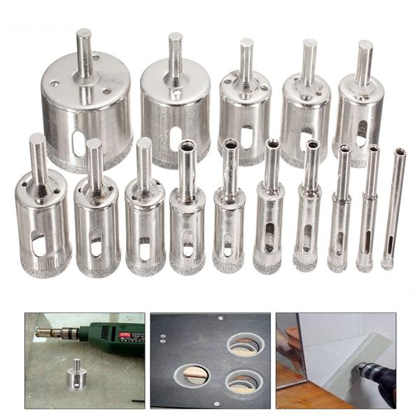 15Pcs 6-50mm Diamond Hole Saw Drill Bit Set 100 Grits Tile Ceramic Glass Marble Drill Bits