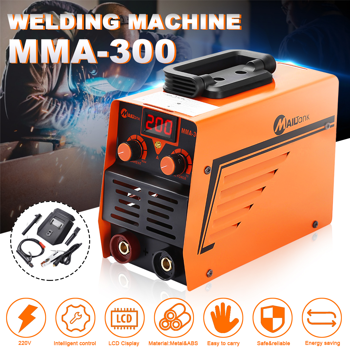 Portable MMA Welding Machine Inverter Electric Welding Tools Digital Display Current Regulation 220V MMA-300