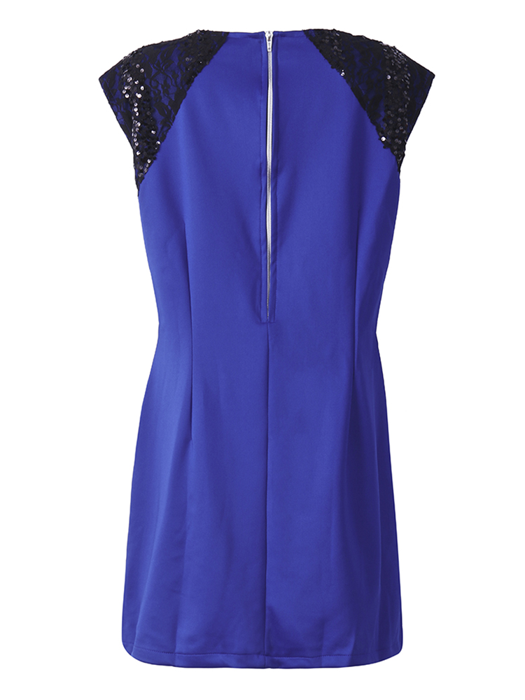Women Plus Size Royal Blue Sexy Paillette Sleeveless Dress