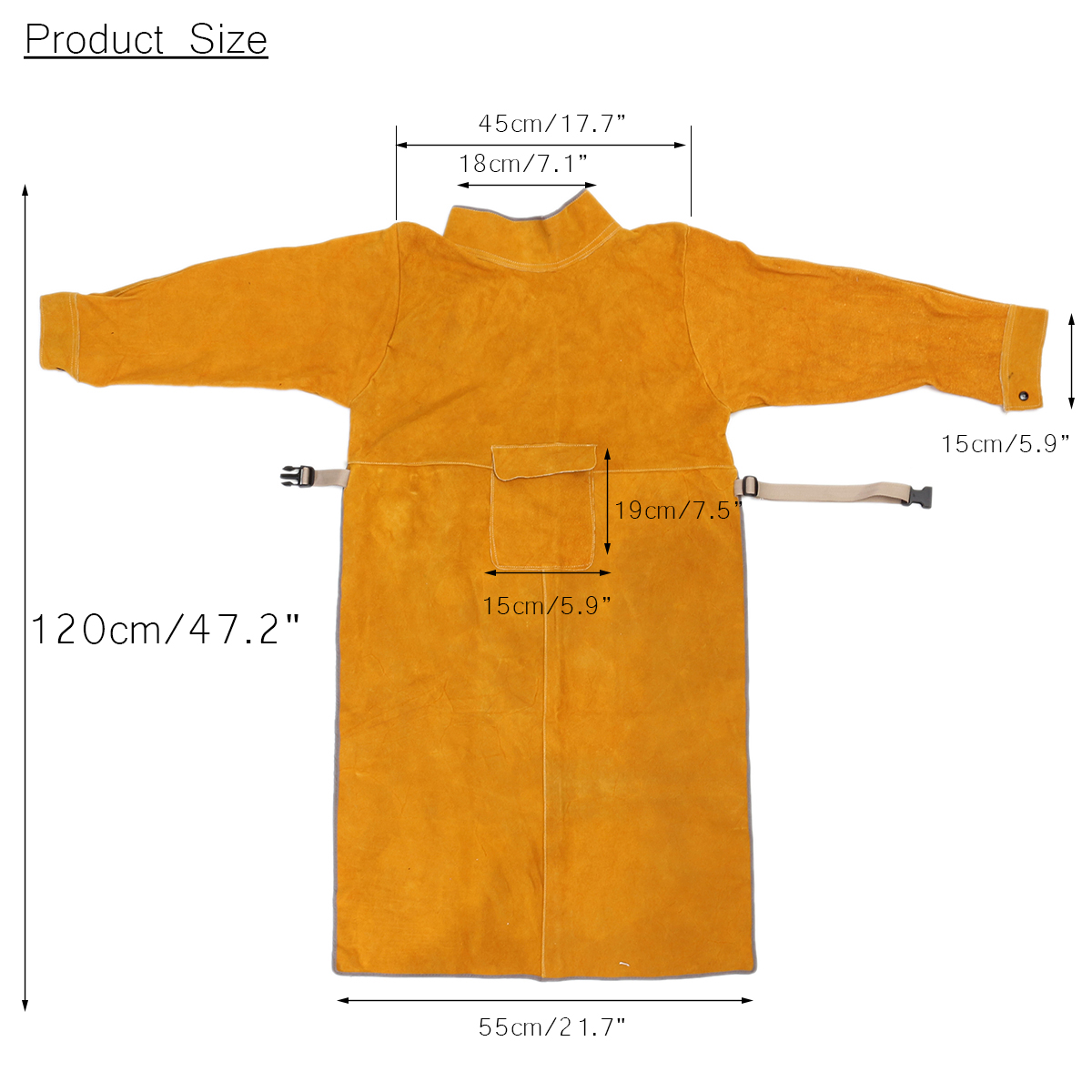 Durable Leather Welding Clothes Long Coat Apron Protective Clothing Apparel