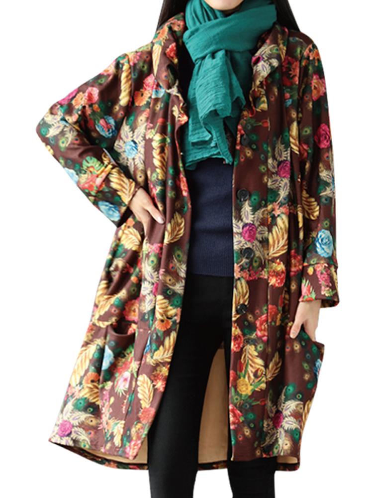 Vintage Floral Printing Long Sleeve Loose Plus Velvet Thick Coat
