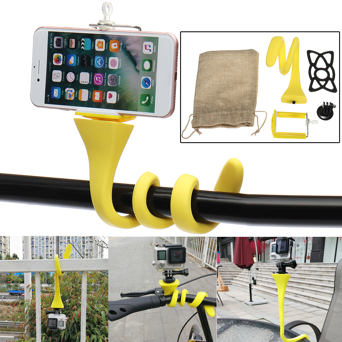 Banana Snake Pod Flexible Tripod Mount Selfie Stick for Sj4000 XIAOML Gopro Smartphone