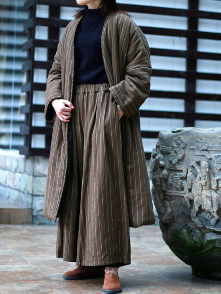 Women Vintage Stripe Waist Tie Winter Long Coats with Pocket