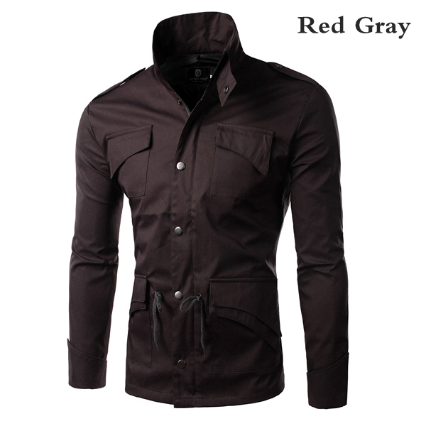 Men's Military Style Stand Collar Winter Jacket Slim Fit Fashion Coat