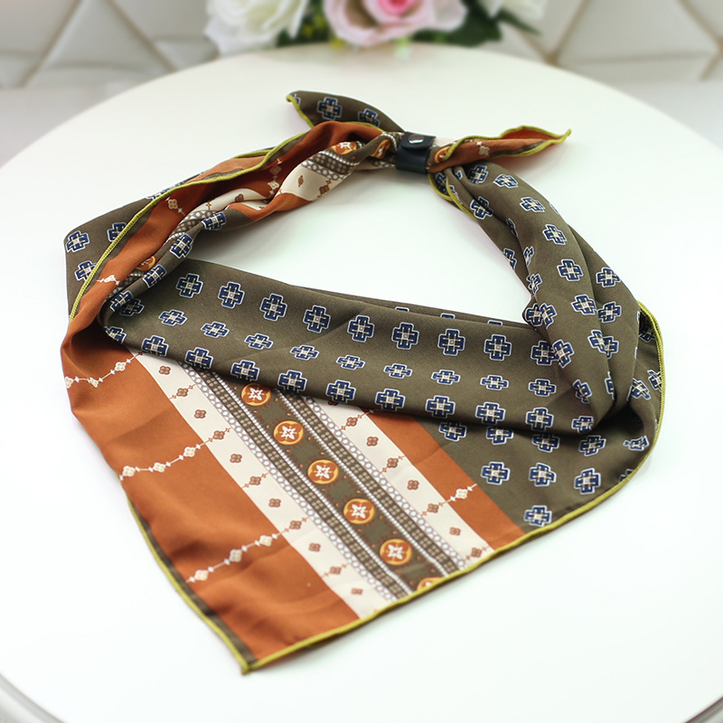 70cm*70cm Women Printing Feather Small Kerchief Scarf Leisure Chiffon Square Scarves
