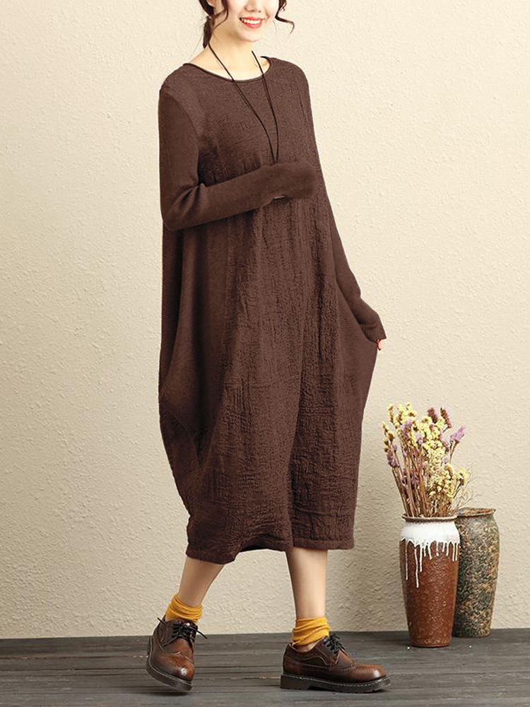Celmia Casual Solid Color Pure Color Women Dress