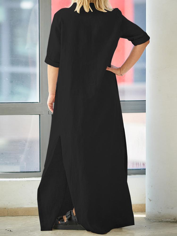 Women Brief V-neck Side Split Cotton Maxi Dress