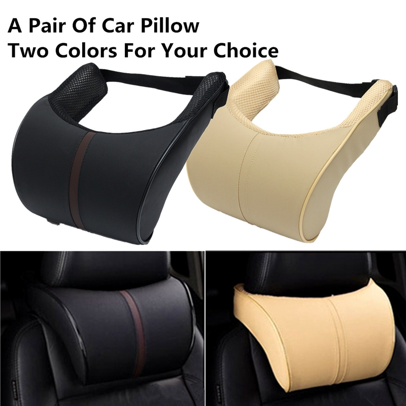 Pair PU Leather Ergonomic Seat Head Rest Pad Car Neck Rest Memory Foam Pillows
