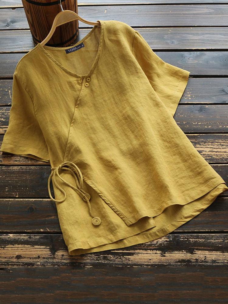 Women Cotton Button V-neck Solid Color Blouse
