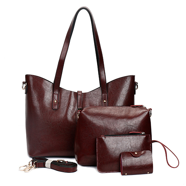 Women Faux Leather Four-piece Set Handbag Shoulder Bag