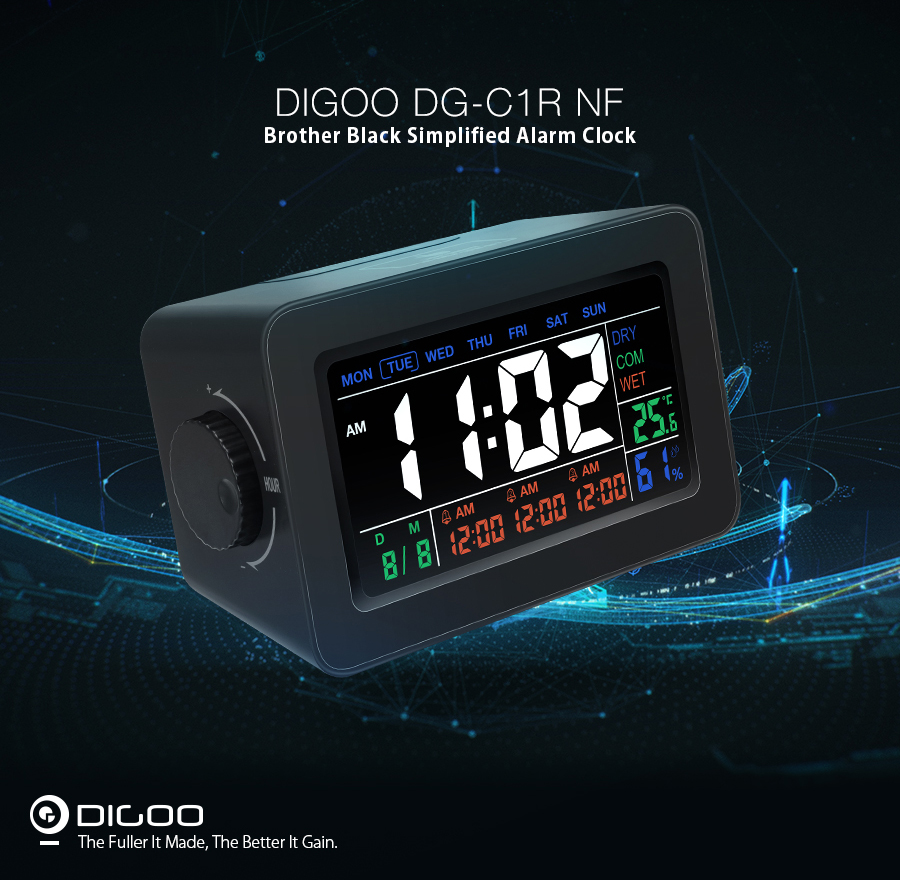 Digoo DG-C1R 2.0 NF Brother Black Simplified Alarm Clock Touch Adjust Backlight with Date Temperature Humidity Display