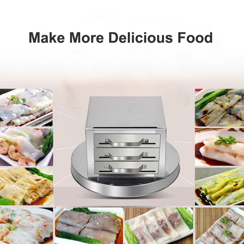 Stainless Steel Tray 4 Layer Steamed Vermicelli Rice Roll Machine Kitchen Cooking Steamer Drawer