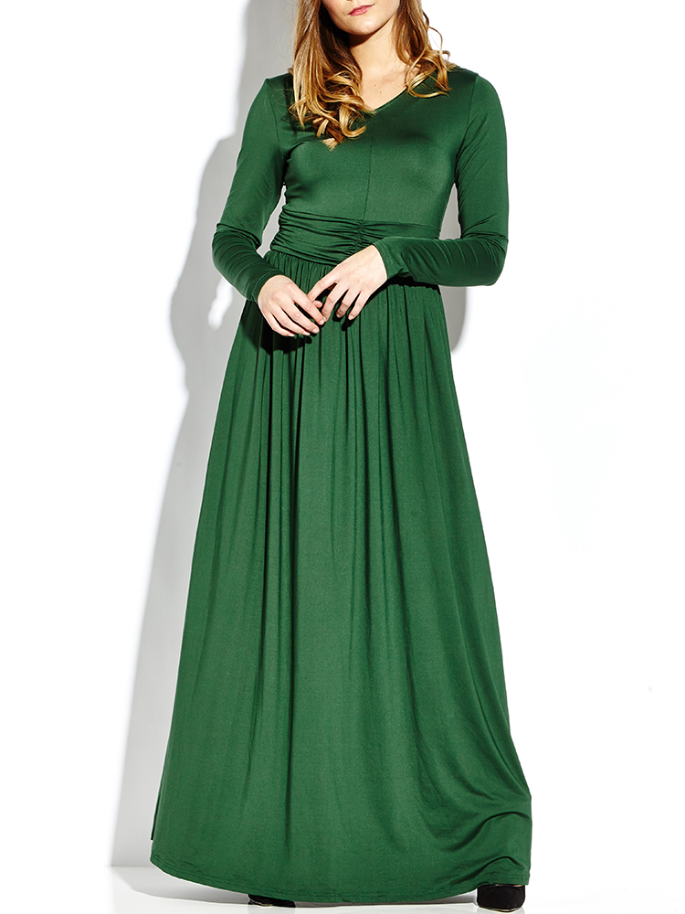 Elegant Solid V-Neck Long Sleeve Irregular Maxi Women Dress
