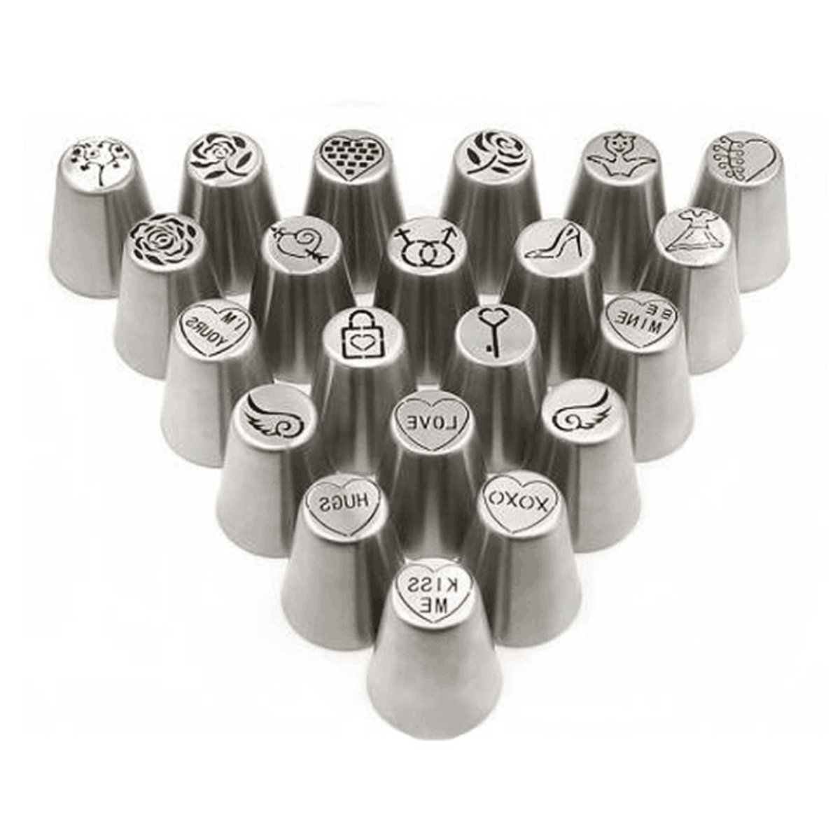 21 Pcs Set Valentine's Day Icing Piping Nozzles Tips Cake Decorating Icing Piping Nozzle