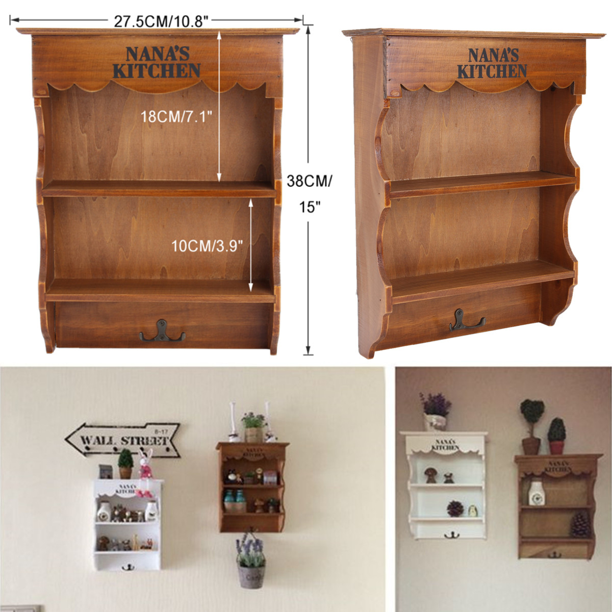 Vintage Wood Mini Dresser Wall Shelf Chic Country Kitchen Hook Spice Rack Home Storage Decorations