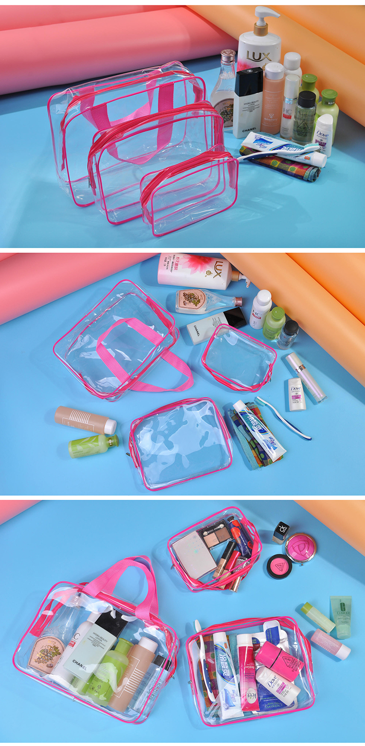 Honana HN-TB9 3pcs Clear Travel Toiletry Bags PVC Waterproof Organizer Cosmetic Storage Bags