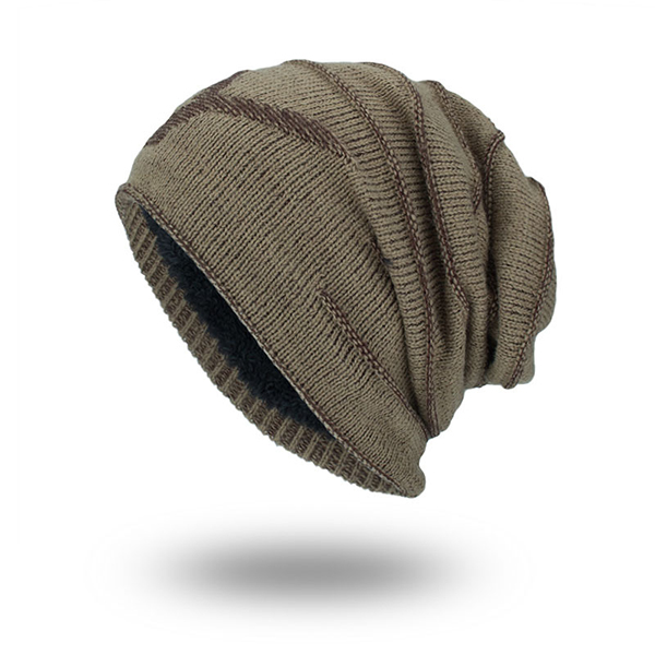 Men Knitted Solid Color Winter Warm Skull Beanie Cap