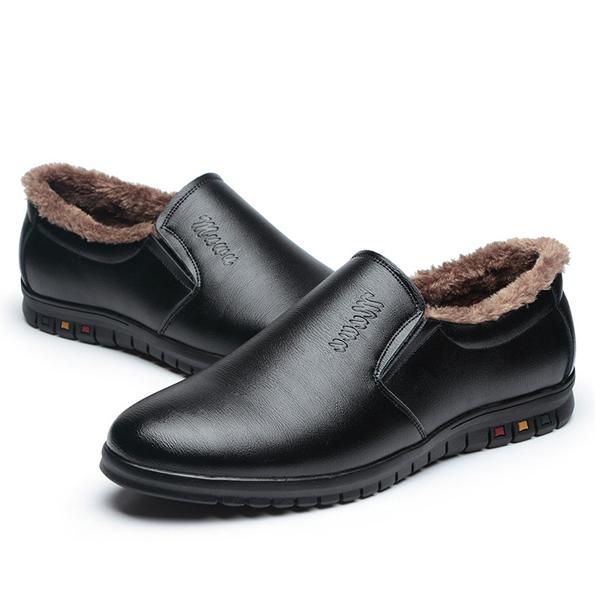 Slip On Wool Fleece Lining Round Toe Keep Warm Winter Shoes