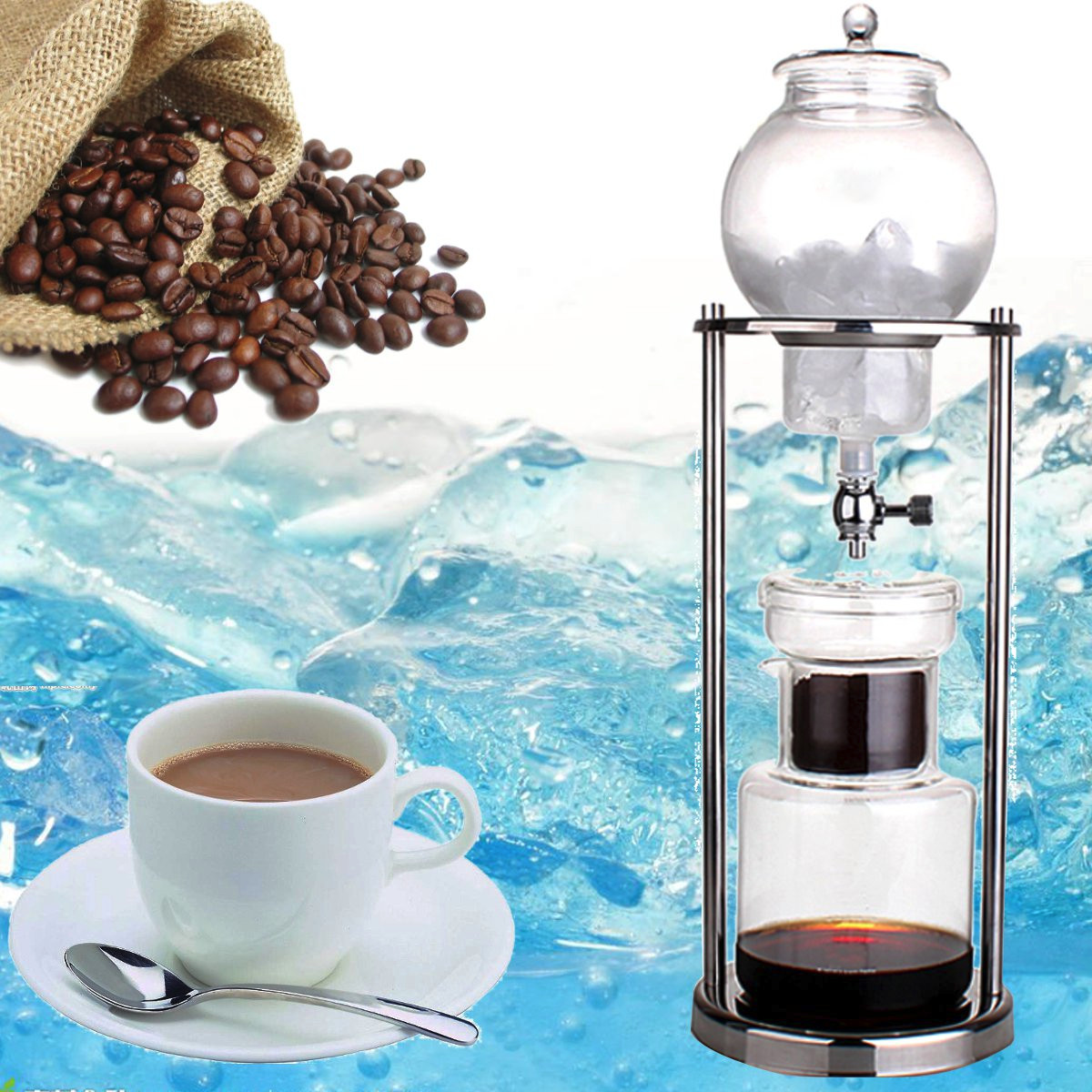 1000ml Dutch Coffee Pot Cold Water Drip Coffee Maker Serve For 10 Cups