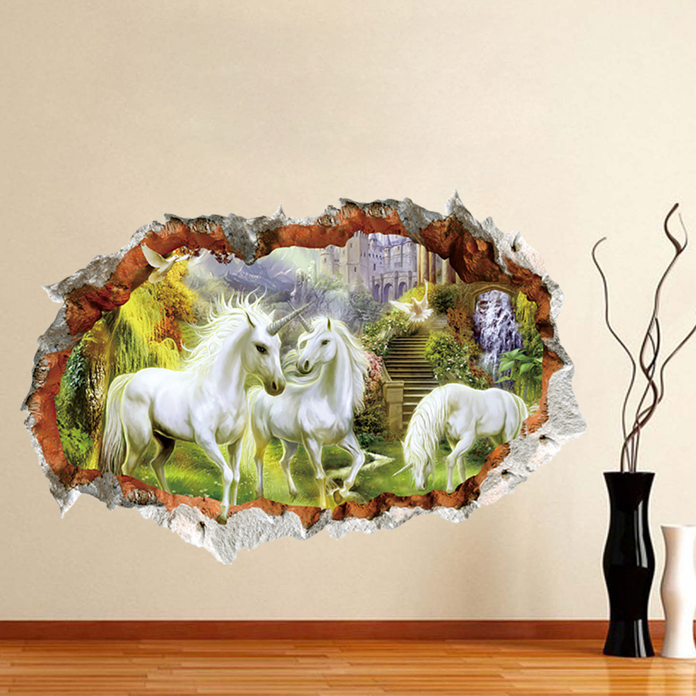 Miico 3D Creative Unicorn Broken Wall Removable Home Room Decorative Wall Decor Sticker