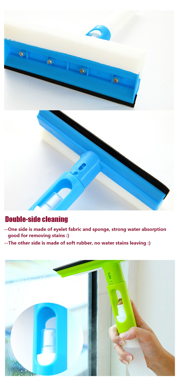 3in1 Double Side Foldable Cleaning Brush Squeeze Water Spray Glass Wall Kitchen Bathroom Wiper Tool