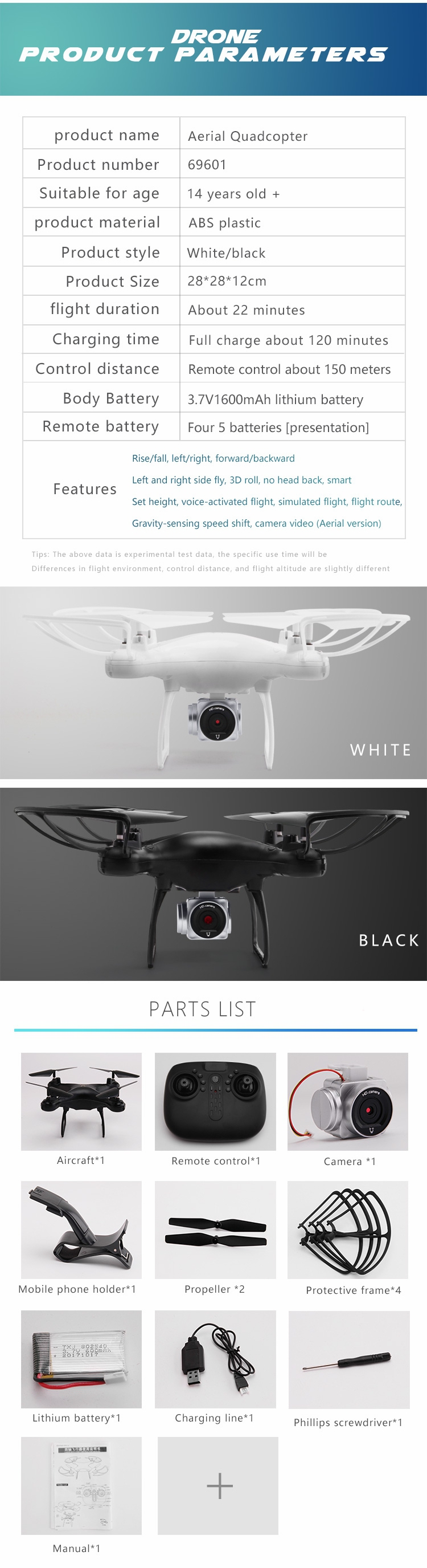 Utoghter 69701 Wifi FPV RC Drone Quadcopter with 0.3MP/2MP Gimbal Camera 22mins Flight Time - Photo: 8